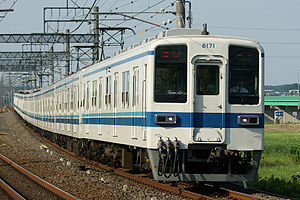 Tobu 8000 series 10-car formation on the Tōjō Line, June 2008