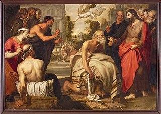 Schoorsteenstuk uit de Regentenkamer van het Gasthuis aan de Hoogstraat: Christus geneest een bedlegerige man in het bad Bethesda (Joh. 5: 1-9)