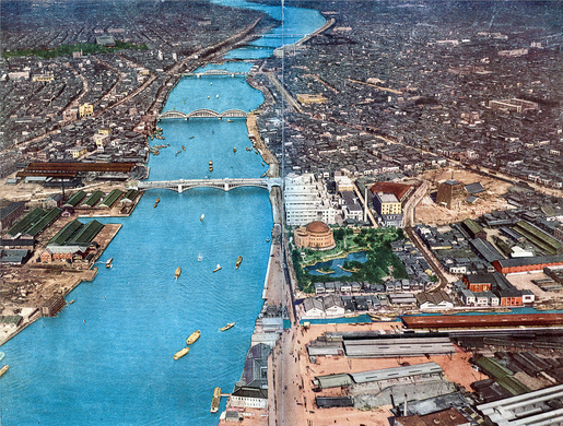 Aerial view of the Sumida River with Taitō-ku (west) and Sumida-ku (east) in Tokyo, c. 1930