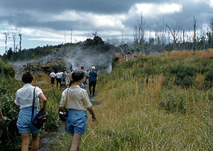 Kīlauea Iki - Tourists on way to view eruption of volcano, Oct. 1959