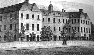 Scottish poorhouse - An engraving of the Glasgow poorhouse, Town's Hospital, from the 1830s