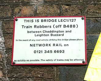 Train Robbers Bridge Network Rail plaque Train Robbers Bridge Network Rail plaque.jpg