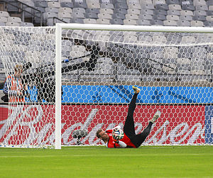 Brazil v Germany (2014 FIFA World Cup) - Germany's Manuel Neuer practicing prior to the particular match on 7 July 2014.