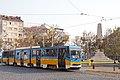 Tram in Sofia near Russian monument 071.jpg