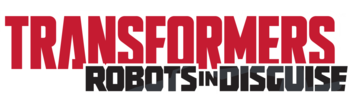 Logo of the series featuring the title and the Autobots' symbol on its left. Transformers is written with red colors while Robots in Disguise is done using black.