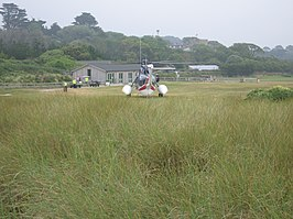 Tresco Heliport, met een Sikorsky S-61 van British International Helicopters (2006)