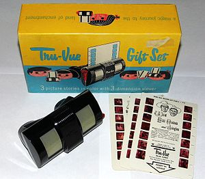 Tru-Vue - A Tru-Vue viewer and film cards from 1953, by which time the company had relocated to Oregon and become a subsidiary of Sawyer's.