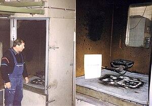 Combustibility and flammability - DIN4102 Flammability Class B1 Vertical Shaft Furnace at Technische Universität Braunschweig, Germany.