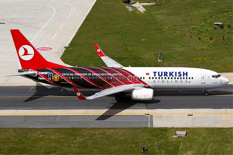Самолет Turkish Airlines Манчестер Юнайтед