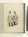 Two soldiers in white uniforms with yellow trip. The trousers have red piping. Both soldiers have swords, and the one on the right has a rifle as well (NYPL b14896507-76667).tiff