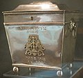 Tzedakah (charity) box, Charleston, 1820, silver, National Museum of American Jewish History.JPG