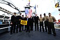 U.S. Ambassador to Ireland Daniel Rooney, center, poses U.S. Navy Sailors aboard the dock-landing ship USS Fort McHenry (LSD 43) Sep. 1, 2012, in Dublin, Ireland 120901-N-LD296-002.jpg
