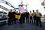 U.S. Ambassador to Ireland Daniel Rooney, center, poses U.S. Navy Sailors aboard the dock-landing ship USS Fort McHenry (LSD 43) Sep. 1, 2012, in Dublin, Ireland 120901-N-LD296-002.jpg