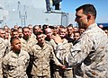 U.S. Marine Corps Col. Frank Donovan, the commanding officer of the 24th Marine Expeditionary Unit, speaks to his Marines and Sailors here April 8, 2012, aboard amphibious assault ship USS New York (LPD 21) 120408-M-KU932-027.jpg