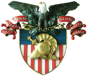 "An eagle atop a shield with a scroll that says ""Duty, Honor, Country"""