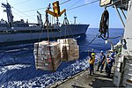 U.S. Sailors aboard the guided missile cruiser USS Monterey (CG 61) prepare to receive cargo from the fleet replenishment oiler USNS Leroy Grumman (T-AO 195) during a replenishment at sea in the Mediterranean 131116-N-QL471-196.jpg