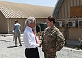 U.S. Sen. Bob Corker of Tennessee, left, shakes hands with U.S. Army Maj. Ashley Worlock, a Tennessee resident, at Camp Integrity, Afghanistan, July 7, 2013 130707-N-QV903-007.jpg