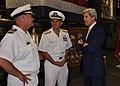 U.S. Senator John Kerry speaks with Navy officers (7535477650).jpg