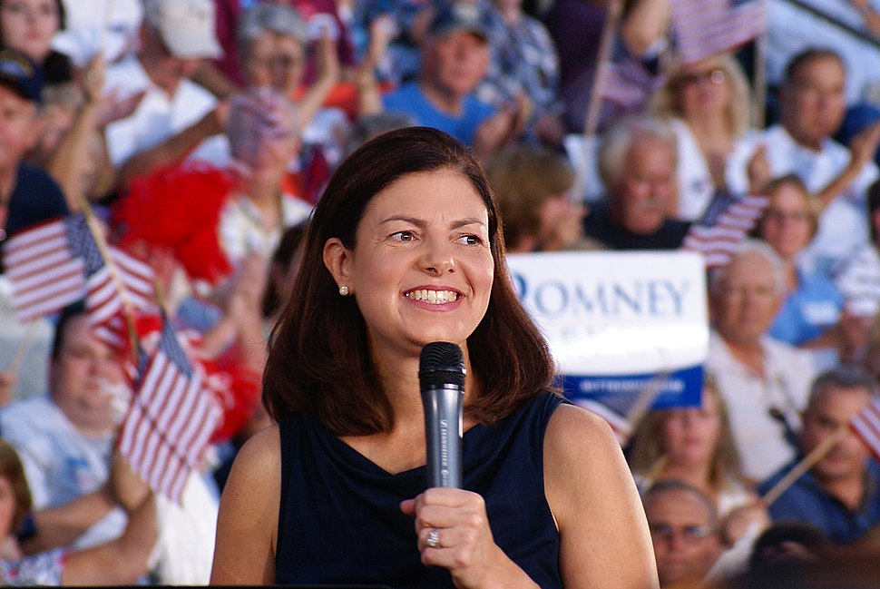 U.S. Senator Kelly Ayotte from New Hampshire speaking for 2012 Republican Presidential Candidate Mitt Romney