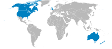 Map of UKUSA Community countries with Ireland