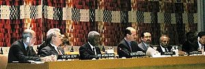 UN Secretary General Kofi Annan addressing the...