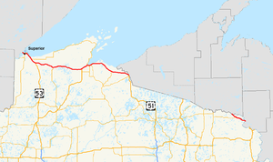 U.S. Route 2 in Wisconsin - Image: US 2 (WI) map