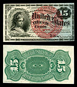 Fifteen-cent fourth-issue fractional note