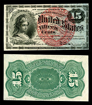 Columbia (name) - The Bust of Columbia depicted on U.S. Fractional currency