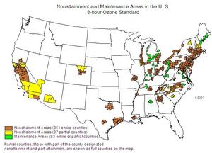 Tropospheric ozone - Image: US ozone non attainment 2007 06