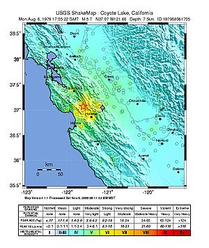 1979 Coyote Lake earthquake - USGS ShakeMap for the event