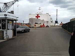 USNS Comfort in Boston dry dock from gate.JPG