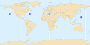 "United States Third Fleet - The areas of responsibility of the United States Second (marked ""2F""), Third (""3F""), Sixth (""6F""), and Seventh (""7F"") Fleets during the 1980s."