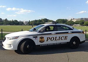 United States Secret Service Uniformed Division - A 2013 Ford Police Interceptor of the U.S. Secret Service Uniformed Division is pictured outside the White House in Washington, D.C., in July 2013.