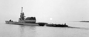 Barbero after conversion to guided missile submarine in 1955