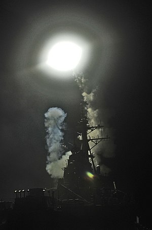 USS Barry (DDG 52) launches a Tomahawk missile in support of Operation Odyssey Dawn.jpg