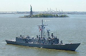 USS Boone passing the Statue of Liberty, Fleet Week, New York 2002