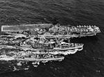 USS Cimarron (AO-22) replenishes USS Hornet (CV-12) and USS Nicholas (DD-449), 1966.jpg
