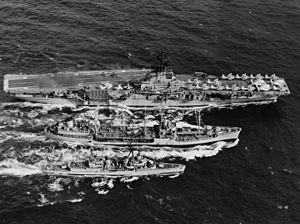 USS Cimarron (AO-22) - Cimarron replenishing Hornet and Nicholas, ca. 1966