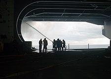 USS GW firefighting in Hangar Bay 3 20080522