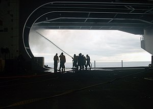 USS George Washington (CVN-73) - Firefighting in Hangar Bay 3