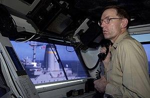 James Symonds - Symonds oversees an underway replenishment on the navigation bridge of USS Ronald Reagan (CVN-76)