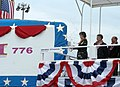 US Navy 060617-N-0653J-002 Hawaii Governor, the Honorable Linda Lingle smashes a bottle of champagne against the sail of the Virginia-class nuclear attack submarine Pre-Commissioning Unit (PCU) Hawaii (SSN 776) during the ship'.jpg