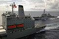 US Navy 070729-N-5387K-001 The guided-missile destroyer USS Stethem (DDG 63) pulls alongside the Military Sealift Command Fleet replenishment oiler USNS John Ericsson (T-AO 194), while USS Kitty Hawk (CV 63) refuels.jpg