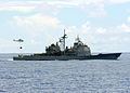 US Navy 080917-N-1038M-033 The Ticonderoga-class guided-missile cruiser USS Cowpens (CG 63) conducts a vertical replenishment.jpg