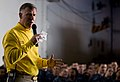 US Navy 101222-N-2953W-127 Capt. Bruce H. Lindsey, commanding officer of the aircraft carrier USS Carl Vinson (CVN 70), addresses the crew in the s.jpg