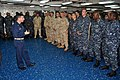 US Navy 110127-N-7293M-223 Capt. Peter Pagano, commander of Amphibious Squadron (PHIBRON) 4, answers questions during an all-hands call with the cr.jpg