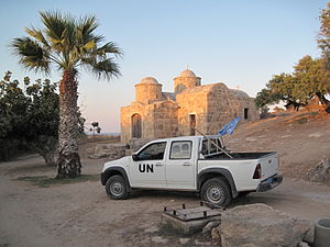 History of Cyprus since 1878 - A UNFICYP patrol car in the buffer zone