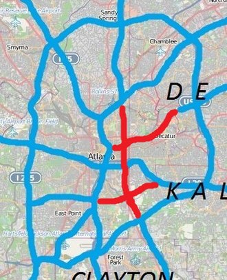 Atlanta freeway revolts - Unbuilt freeways in Atlanta in red: East-west routes: Stone Mountain Fwy at top, Langford Pkwy at bottom. North-south route: I-485/GA400