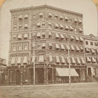 Zeckendorf Towers - The former Union Square Hotel at the southeast corner of 15th Street and Union Square East. Political economist and single-tax advocate Henry George died here on October 29, 1897. Built in 1872, it was demolished in 1986 to make way for the Zeckendorf Towers