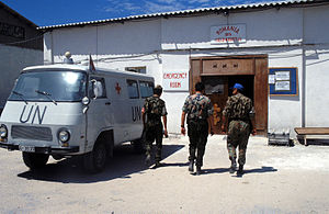 United Nations Operation in Somalia II - Romanian field hospital in Mogadishu, with a Rocar ambulance parked outside